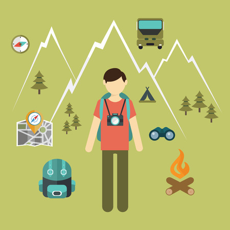tourist information: Mountain hiking, nature turist and climbing vector info graphic. Illustration