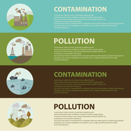 contamination: Flat design vector concept illustration with icons of ecology, environment, contamination and pollution. web banner