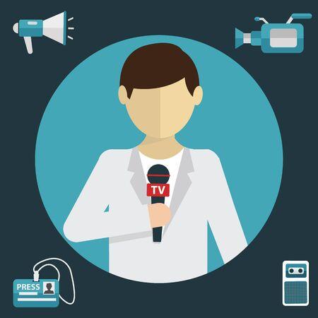 journalism: Modern flat concept of journalism press news reporter.