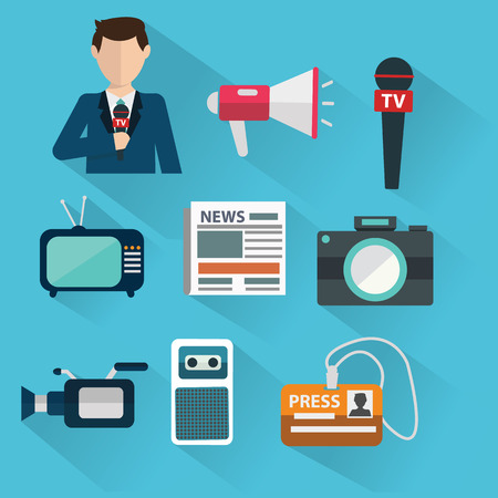 News cast journalism television radio press conference concept, vector illustration. Icons set in flat design style spokesperson, camera, interview, microphone, tv etc Çizim