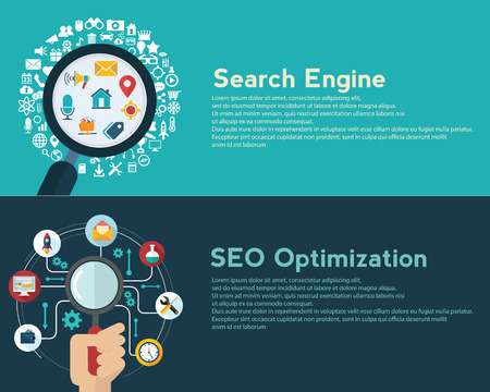 Search engine optimization. Data finding. Content analyzing. seo optimization. SEO concept. web banner