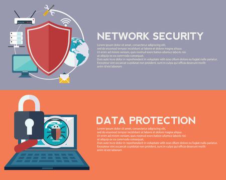 데이터 보호 및 네트워크 보안. 혁신과 기술. 모바일 앱 일러스트