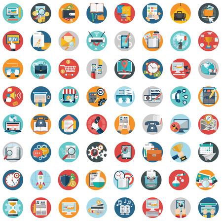 Colección de los iconos planos moderno en colores elegantes de objetos de diseño web