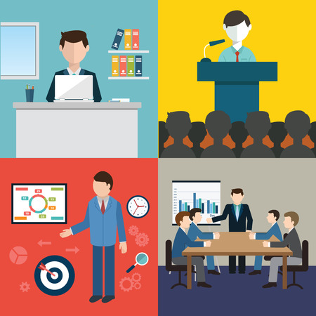 Zakelijke bijeenkomst, conferentie en brainstormen in vlakke stijl.
