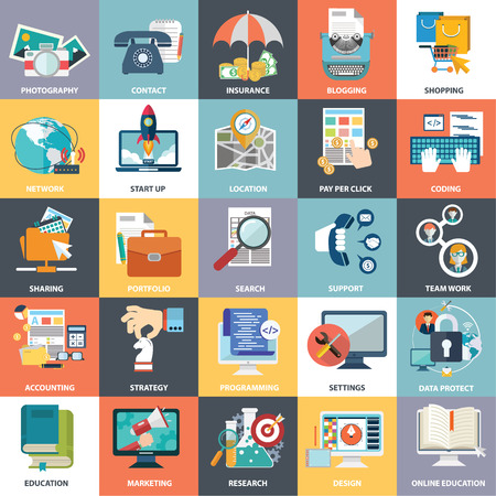 Abstract collection of colorful flat business and finance icons.  Illustration