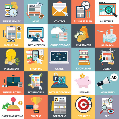 Abstract collection of colorful flat business and finance icons.