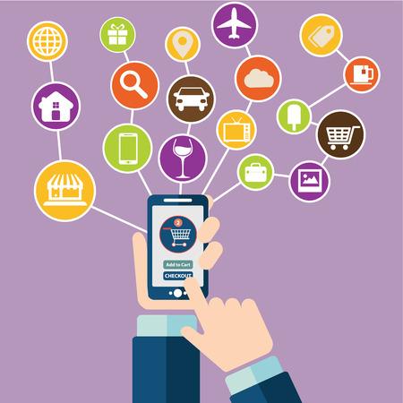 모바일 또는 스마트 폰 상거래를위한 현대 평면 디자인 아이콘의 집합입니다. 온라인 모바일 쇼핑 및 이동 구매 아이콘