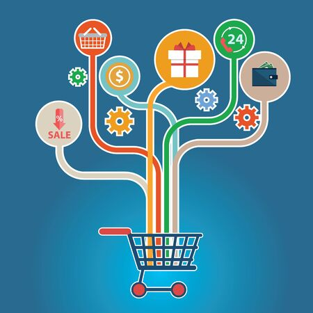 Abstract trees with icons for web design E commerce