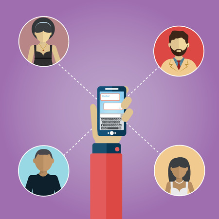 Social media netwerkverbinding concept. Mensen in een sociaal netwerk. Concept voor het sociale netwerk in vlakke uitvoering. Globe met mensen avatars.