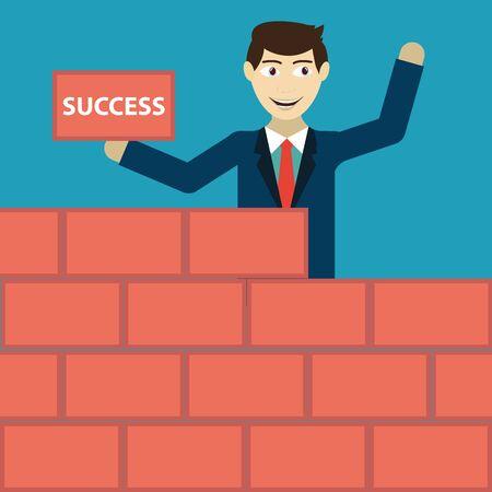 hardwork: Businessman building a brick wall of success Illustration