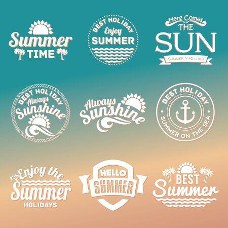 sol radiante: Mano Retro elementos para diseños caligráficos verano dibuja. Vectores
