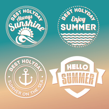 sunshine: Retro hand drawn elements for Summer calligraphic designs .