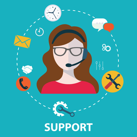 contact person: Business customer care service concept flat icons set