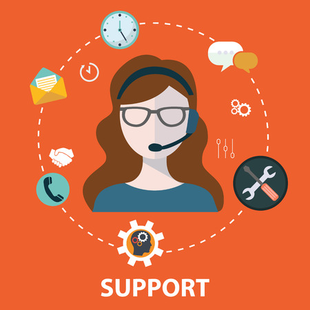 of computer graphics: Business customer care service concept flat icons set