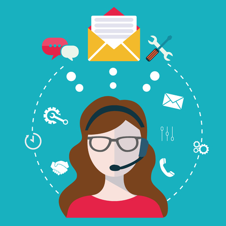 Zakelijke customer care service concept vlakke pictogrammen instellen van contact met ons helpdesk telefoontje en website klik voor infographics ontwerp web-elementen vector illustratie ondersteunen Stock Illustratie
