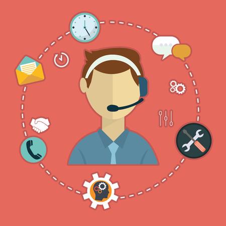 Los iconos planos del concepto de servicio de atención al cliente empresarial establecen de contacto con nosotros, llamada de soporte técnico y clic en el sitio web para la ilustración de vector de elementos web de diseño de infografía. Ilustración de vector