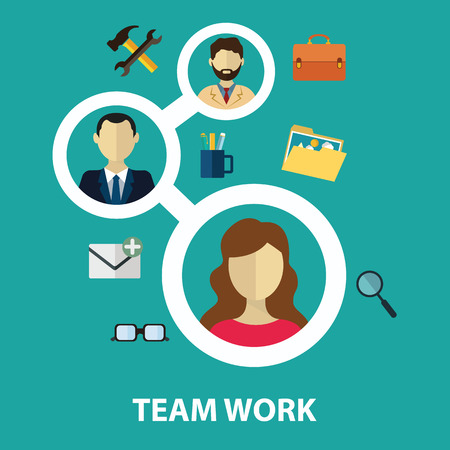Social network and teamwork concept for web and infographic. Flat style vector illustration.