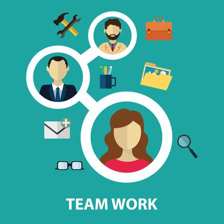 Sociale netwerk en teamwork concept voor web- en infographic. Vlakke stijl vector illustratie.
