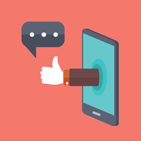 chat up: Hand sticking out of smartphone, showing thumbs up with chat bubble.