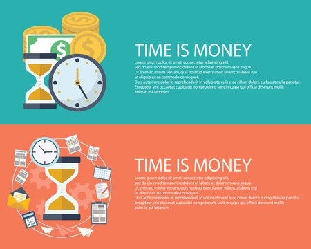 analogy: Time is money business concept in modern flat design. Eps10 vector illustration