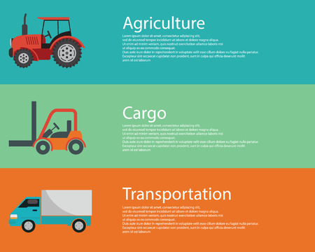 old tractor: modern creative flat design logistics and agriculture vehicles.