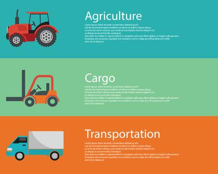 old tractor: moderne creatieve platte ontwerp logistiek en landbouw voertuigen.