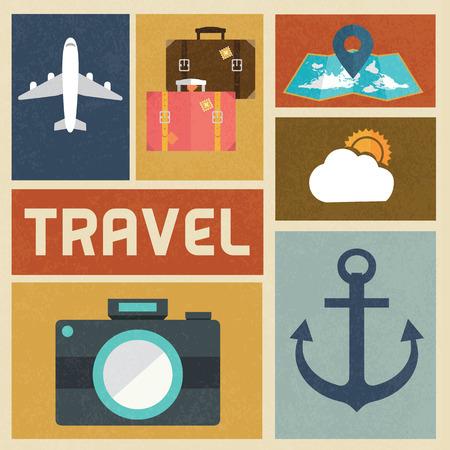 voyage vintage: icônes de voyages établies. Rétro conception Vecteur