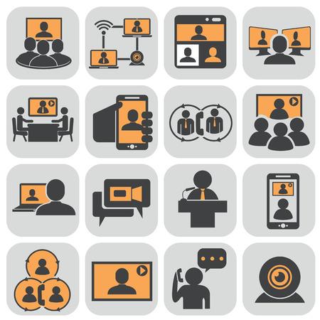 Business communication. Video conference. Illustration