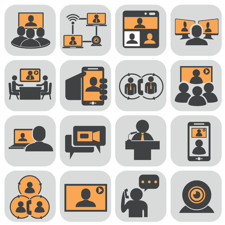 Business communication. Video conference. Illustration