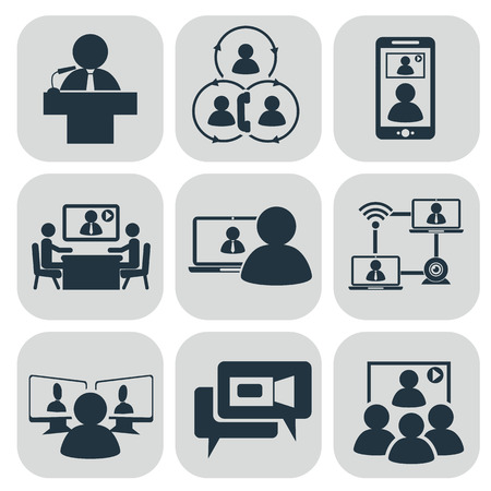Business communication. Video conference illustration