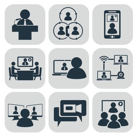 sala de reuniones: Comunicación empresarial. Vídeo conferencia ilustración