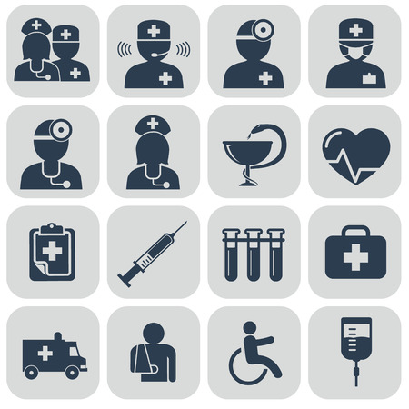 man using computer: Doctor and Nurses icons on grey