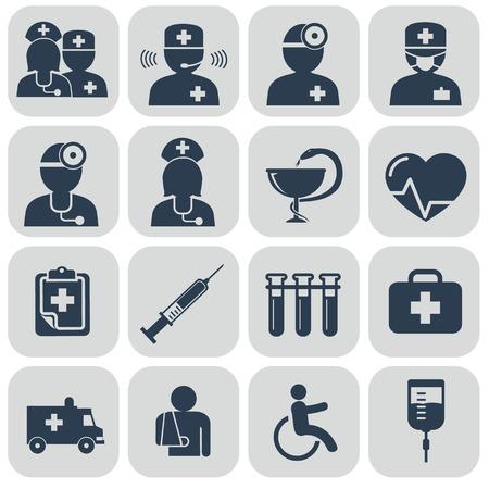 grupo de médicos: Doctor y enfermeras iconos en gris