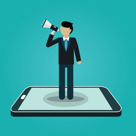 Businessman shouting with loudspeaker from smart phone. Digital marketing. business concept. vector Vector