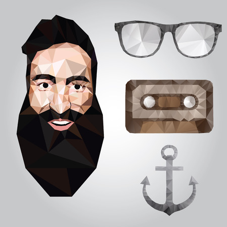 bakelite: Hipster design with hipster elements and icons.Vector illustration Illustration