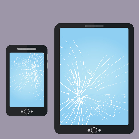 broken telephone: Broken Phone, Tablet-PC Screen Repair Illustration