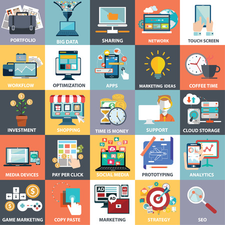 Vector collection of flat and colorful business, marketing and finance concepts. Design elements for web and mobile applications. Stock Illustratie