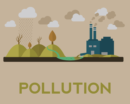 polluted cities: Vector illustration of pollution