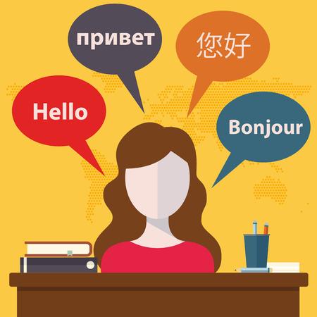 Synchrone vertaaldiensten en internationaal gerechtshof juridische tolken flat banners te stellen abstracte illustratie