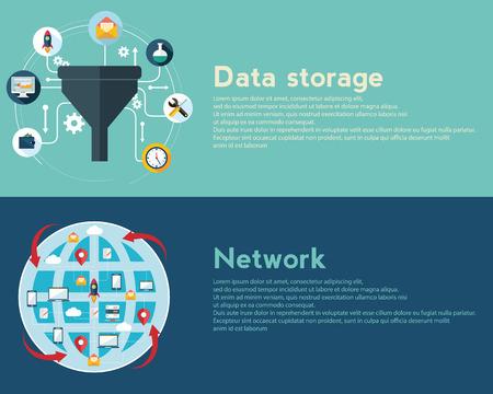 Platte ontwerp illustratie concepten voor creatieve proces, big data filter, netwerk, data tunnel, analyse concept, web banner