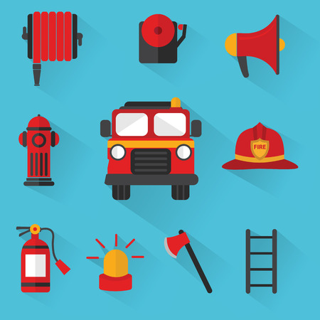 fire truck: Fireman Vector , Set of firefighting equipment