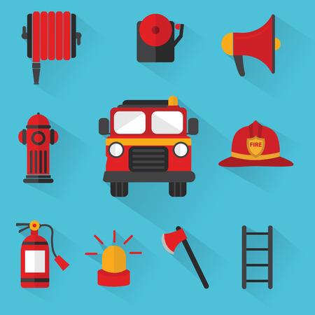 camion de pompier: Pompier vectorielle, Set d'équipement incendie Illustration