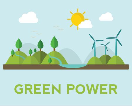 Las energías renovables, como la hidráulica, solar, instalaciones de generación de energía geotérmica y eólica Vectores