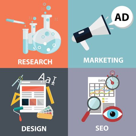 web marketing: Vector collection of flat and colorful business, marketing and finance concepts. Design elements for web and mobile applications. Illustration