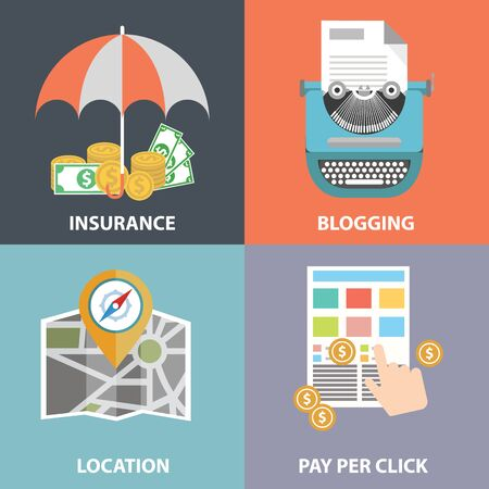 Vector collection of flat and colorful business, marketing and finance concepts. Design elements for web and mobile applications. Illustration