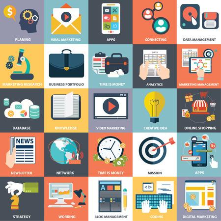 평평하고 다채로운 비즈니스, 마케팅 및 금융 개념의 벡터 컬렉션입니다. 웹 및 모바일 애플리케이션을위한 요소를 디자인합니다. 일러스트