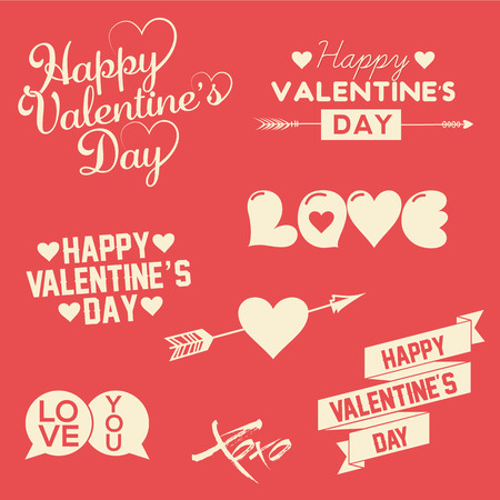 valentine s day: Set Of Happy Valentine s Day Hand Lettering Typographical Background With Ornaments, Hearts, Ribbon and Arrow