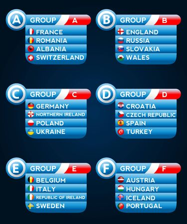 european flags: European flags in groups Illustration