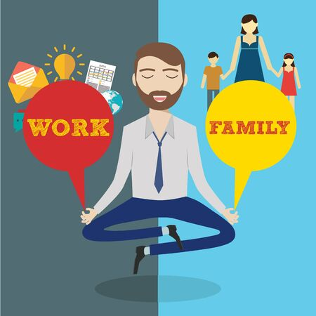 family man: Businessman meditating. Man balancing family and work