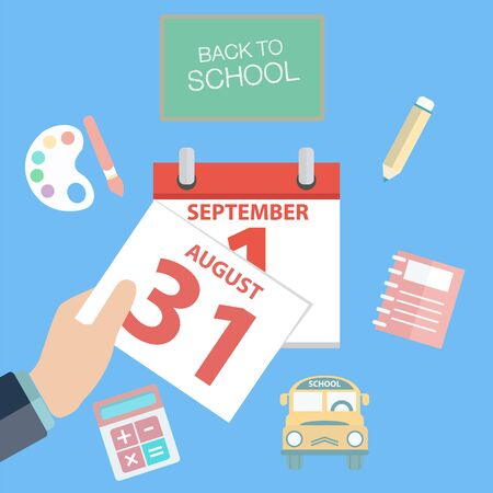 first day of school: First day of school, calendar showing 1st September